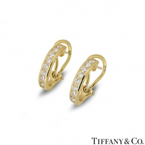 Tiffany & Co. Yellow Gold Diamond Set Hoop Earrings 0.96ct